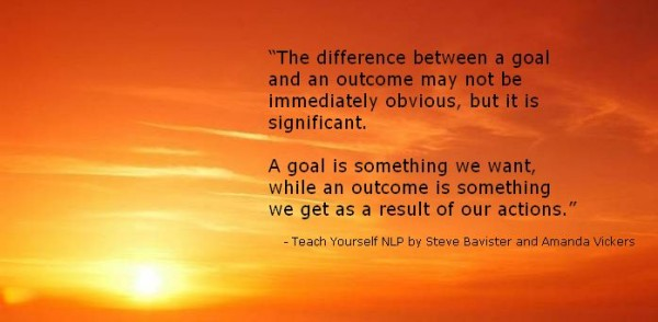 NLP Quote about Goals vs Outcomes